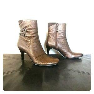 Cole Haan metallic bronze ankle booties